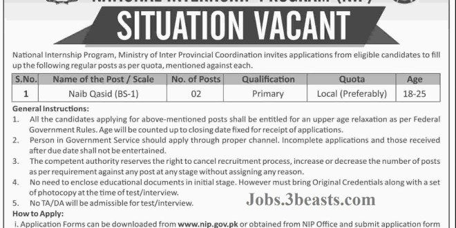 Government of Pakistan Ministery of inter provincial coordination National internship program