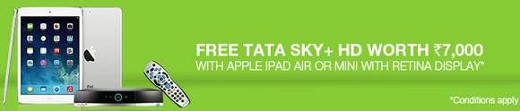 iPad Tata Sky Offer: Free Tata Sky+ HD worth Rs.7000 with iPad Air or iPad Mini from Flipkart