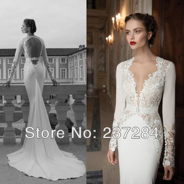 64 best images about bridal dresses on pinterest lace for Lace long sleeve backless wedding dress
