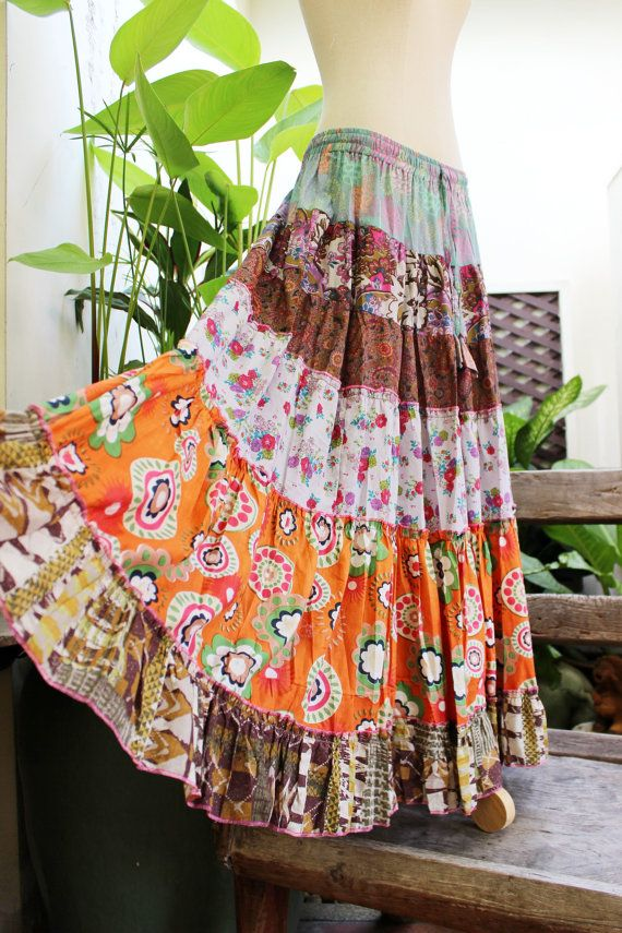 Printed Cotton Long Tiered Skirt  OM010914 by fantasyclothes