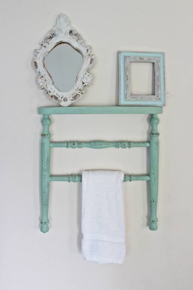 Chair towel rack made out of a antique chair legs with a shelf made from the - 47 Best Chair Wall Decor Images On Pinterest Old Chairs, Chairs