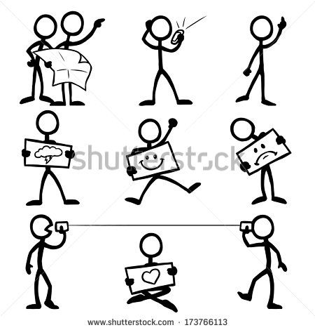 Stick Figure Communication - stock vector