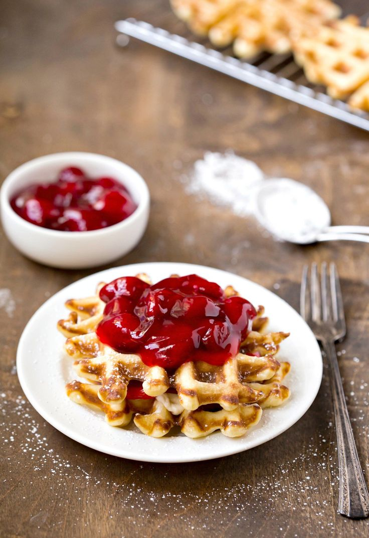 Strawberry Cream Cheese Waffle Recipe - creamy strawberry cheese filling sandwiched between light and crispy waffles!