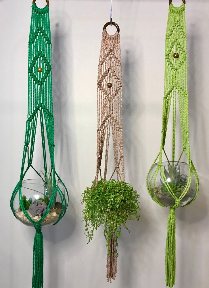 Tree Green Boho Home Decor Minimalist Natural Style Mini Macrame Hanger Gift Rope Plant Hanger 100/% Cotton