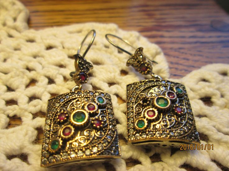 Estate Deco Rose Gold/925 Sterling Silver .50ctw Emerald, Ruby and White Sapphire Dangle Earrings, Wt. 17g by TamisVintageShop on Etsy