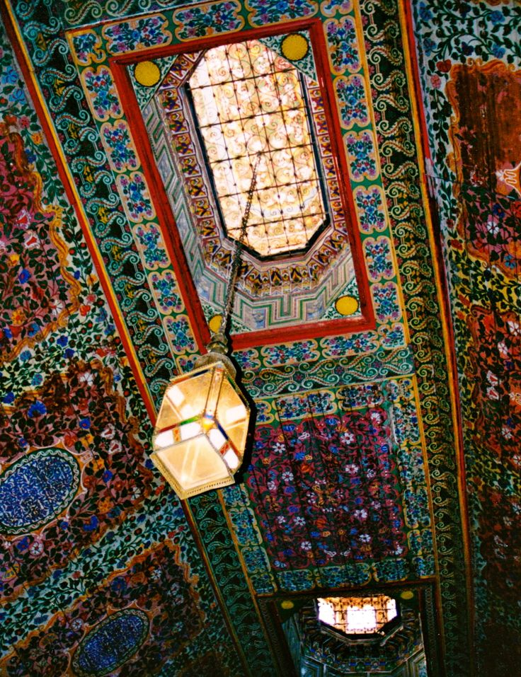 Incredible patterned ceiling in Marrakesh, Morocco.