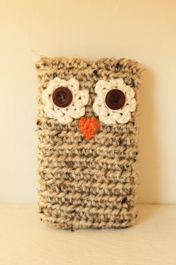 MOM make this for Hannah!!!!!  Owl Crochet Cell Phone Case by smileywileyknits on Etsy