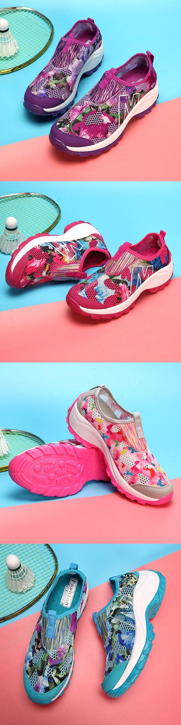 US$23.43  Flower Mesh Breathable Platform Rocker Sole Casual Shoes