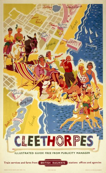 Poster produced for British Railways (BR) Eastern Region (ER), promoting the Humberside seaside resort of Cleethorpes, showing an aerial view of the town and coastline, overlayed with images of holidaymakers engaged in various activities. Included are children making sandcastles, riding on donkeys and carousel horses, families relaxing in deckchairs, a man playing golf and the winner of a beauty contest. Artwork by Blake. Printed by Jordison & Co Ltd, London & Middlesbrough.