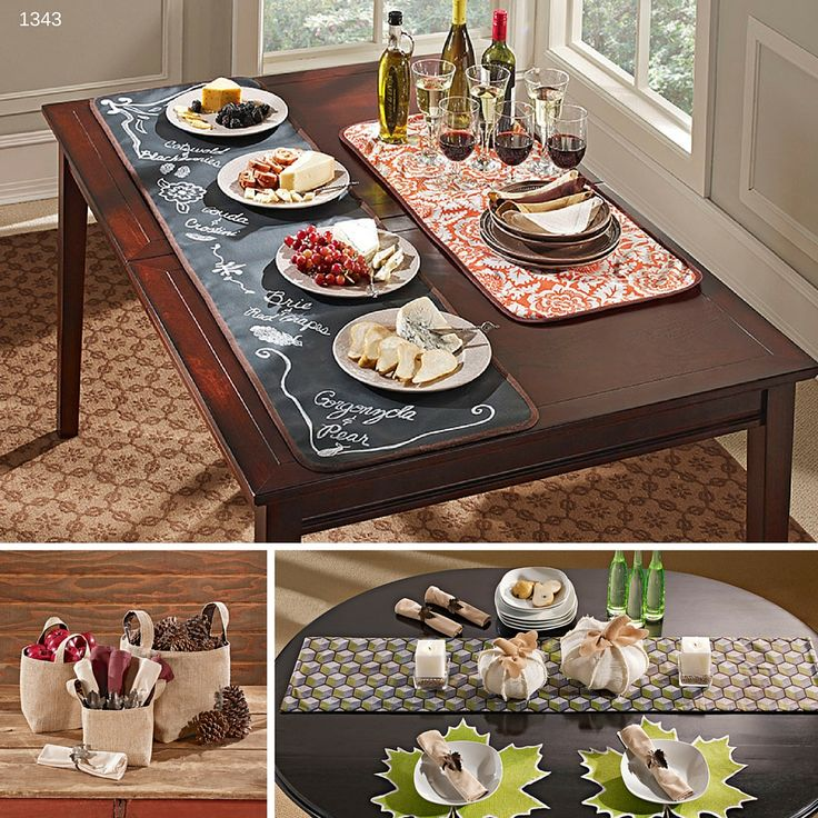Dress your Thanksgiving table with autumn-themed table runners and placements, stuffed pumpkins, and fabric baskets!