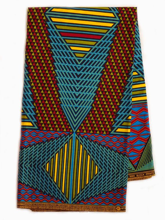 Blue Red Yellow abstract African fabric AfricanTextil by the Yard from African Fabric Shop  Ankara fabric African Supplies African print