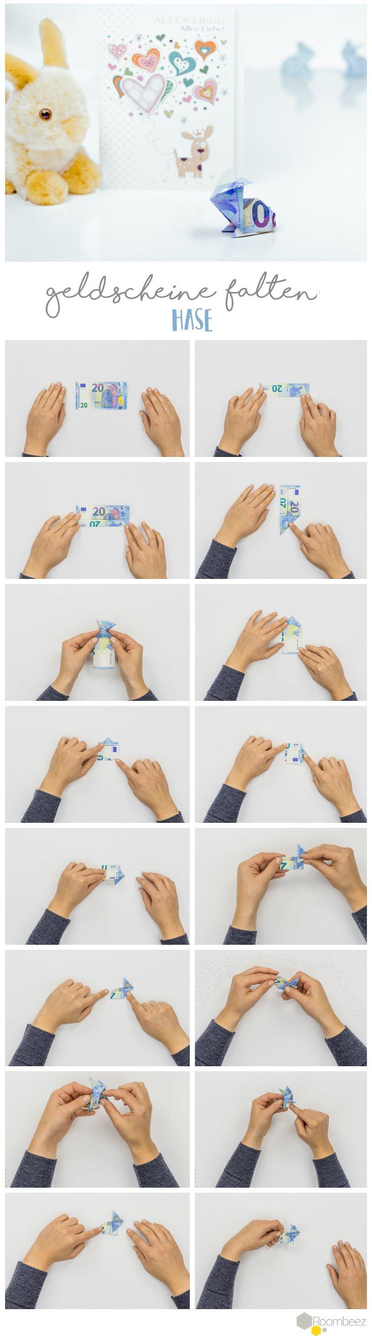 #Geldscheine #falten #Hase Schöne Geldgeschenke selber basteln ist ganz einfach - Auf ROOMBEEZ findet Ihr Schritt-für-Schritt Anleitungen und Videos ➯