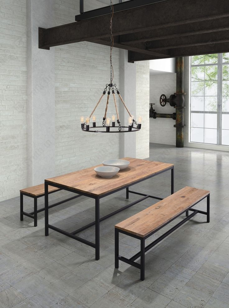 Wood And Metal Round Dining Table Part - 28: Dining-room-delightful-furniture-for-vintage-dining-room-design-using-round -black-metal-candle-chandelier-over-dining-table-including-rectangular-rustic-  .