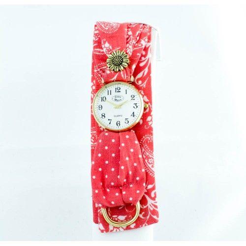 Reloj Correa de Tela Roja