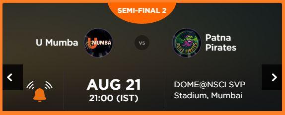 Pro kabaddi League 2015: Mumbai vs Patna Semi Final 2, Watch Live Streaming online