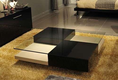 Mesa De Centro Moderna Con Cristal De 10 Mm Ref: Dominos - $ 399.000