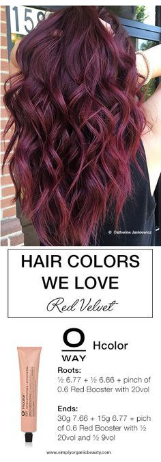 Red Velvet hair color is a delicious blend of red and violet. Perfectly accomplished with Oway Hcolor by Catherine Jankiewickz. #Oway #Hcolor #HolisticHairTribe