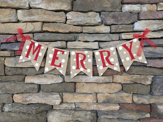 Merry Banner, Merry Burlap Banner, Christmas Banner, Christmas Garland, Merry Garland, Christmas decor, Christmas burlap banner, Photo prop