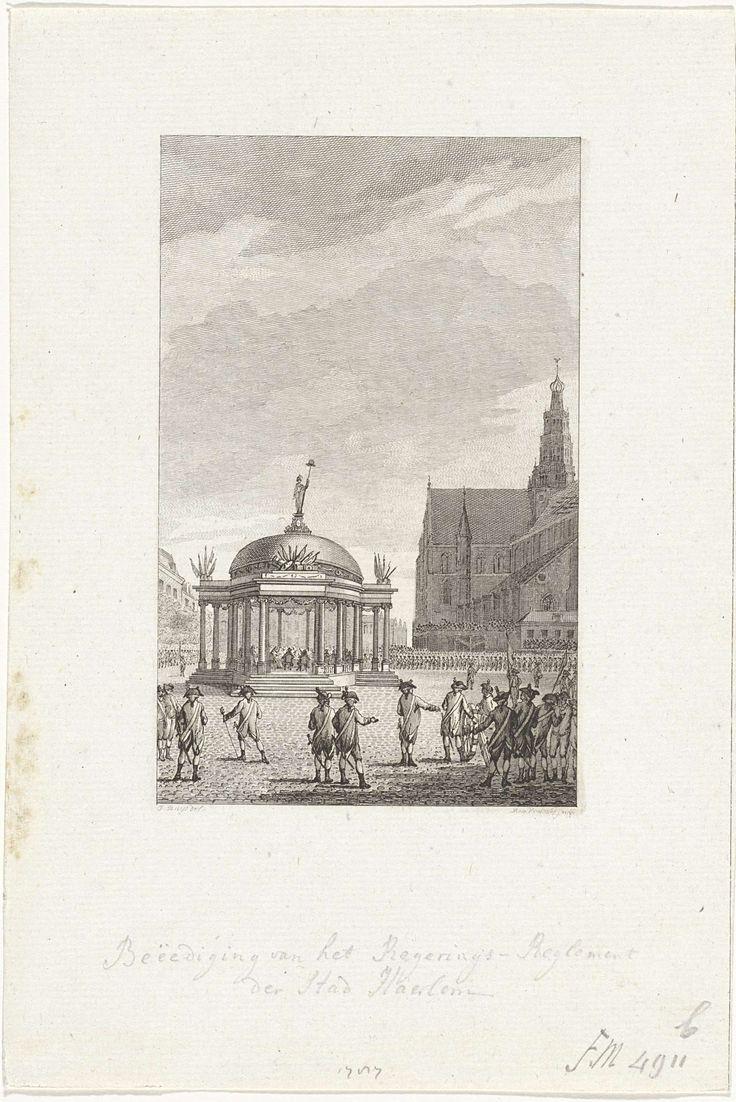 Reinier Vinkeles | Beëdiging van het regeringsreglement in Haarlem, 1787, Reinier Vinkeles, 1795 | Plechtige ceremonie met de beëdiging  van het nieuwe regeringsreglement in een tempel opgericht op de Grote Markt te Haarlem, 5 september 1787. Om het plein staan schutterijen opgesteld.