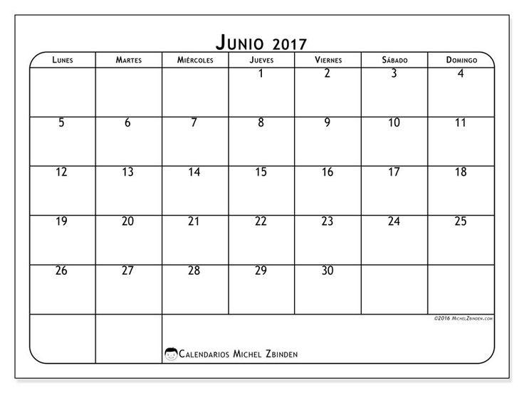 Gratis! Calendarios para junio 2017 para imprimir