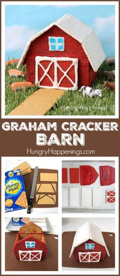 Learn how to build a Graham Cracker Barn. See the step-by-step tutorial at HungryHappenings.com.