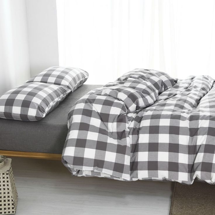 plaid washed cotton twin bedding sets king size duvet cover bedroom 1.8m bed cover 4 piece set for sale free shipping #Affiliate