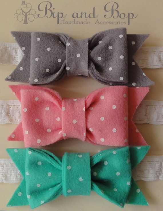 Bip and Bop Etsy Store: Little Girl's Polka Dot Bow Felt Headbands! These are SO cute!
