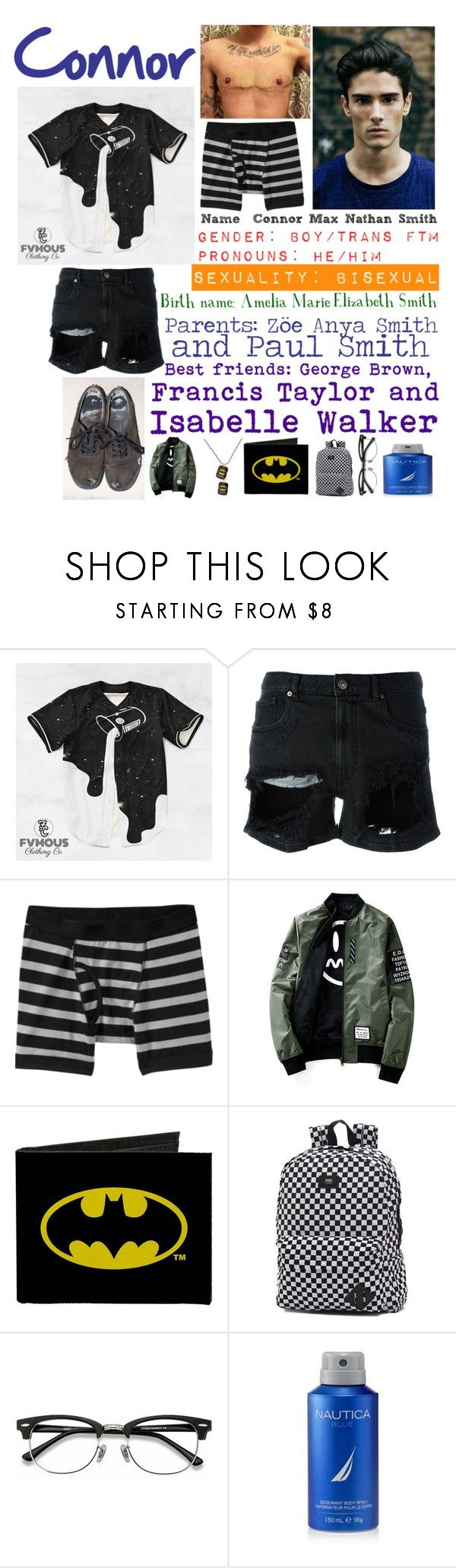 """""""Connor"""" by llamapoop ❤ liked on Polyvore featuring GaÃ«lle Bonheur, Old Navy, Vans, Ace, Nautica, men's fashion and menswear"""