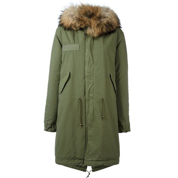 Mr & Mrs Italy classic parka coat (€2.090) ❤ liked on Polyvore featuring outerwear, coats, green, green parka, fur-lined parkas, parka coat, green fur parka and green fur coat