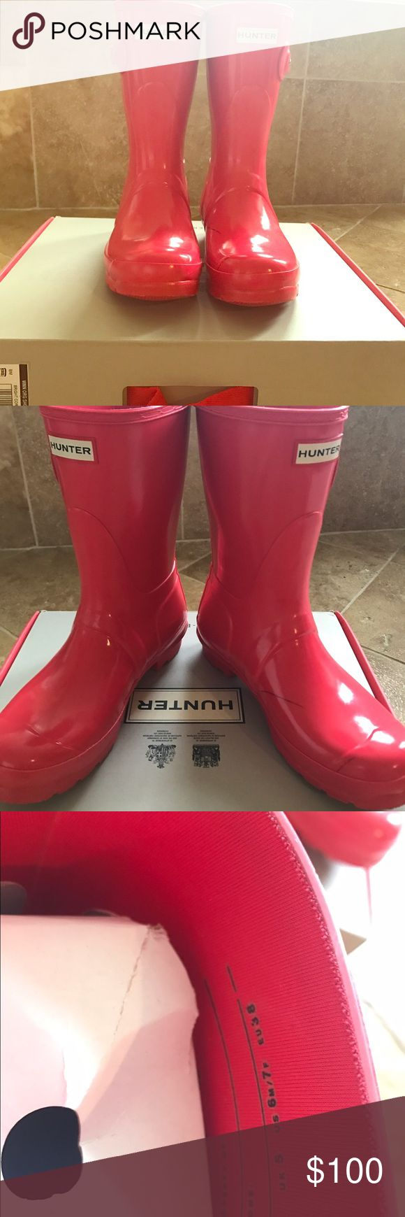 Rate Coral Hunter Boots Rare Coral Hunter Boots! Short boots. Sz 7 left boot has marking that can be rubbed out. Shown in picture Hunter Boots Shoes Winter & Rain Boots