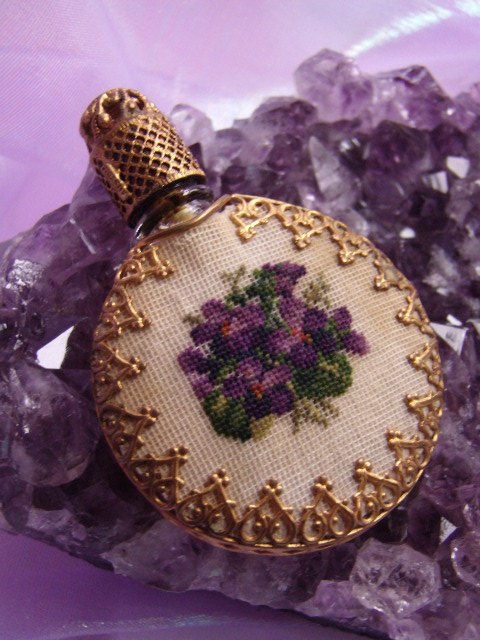 Vintage Petit Point Perfume Bottle Flask Glass by AireginVintage,