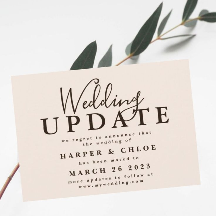Introducing Change The Date Cards When You Have To Postpone Your Wedding Keep Your Guests Up To D In 2020 Wedding Engagement Season Wedding Cards