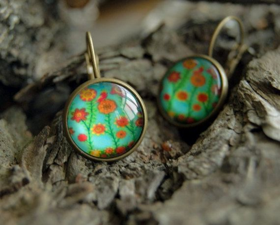Flowers french lock glass dome 14 mm earrings  by InviolaJewerly