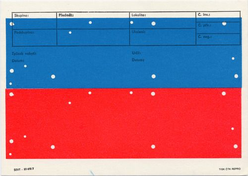 Karel Martens  Untitled, circa 2004  letterpress on catalogue card from the Moravian Museum Brno, Czech Republic  8 ¼ x 5 ⅞ in. (209 x 149mm)