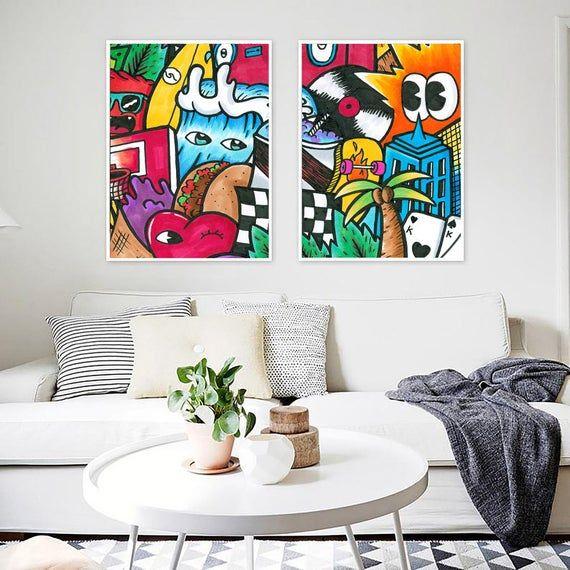 Wall Art Set For Living Room Decor Colorful Wall Art Set Etsy In 2020 Colorful Wall Art Canvas Colorful Wall Art Graffiti Style Art
