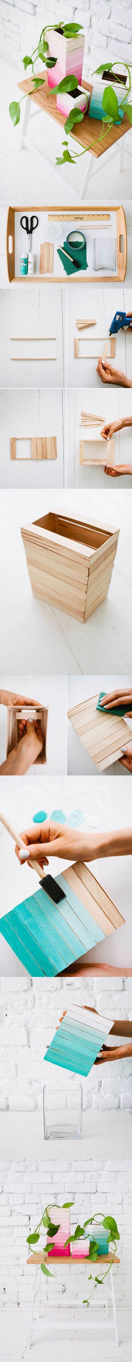 Delicados maceteros de madera para interior / http://www.designlovefest.com/