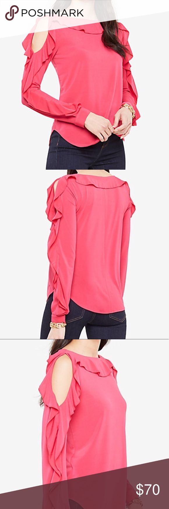 Ann Taylor Ruffle Sleeves Blouse Romantic hot pink blouse w/ ruffle detail in the sleeves and neckline Ann Taylor Tops Blouses