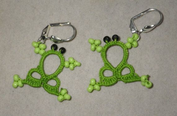 Tatted tropical green frog earrings by TattingByWendy on Etsy, $13.00