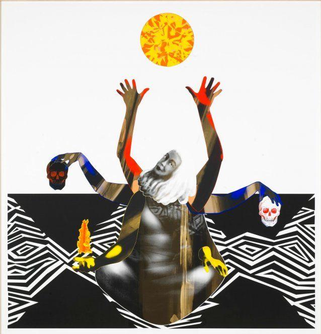 Brook Andrew, Marcia Langton, 2009, screenprint, 240.0 x 250.0 cm