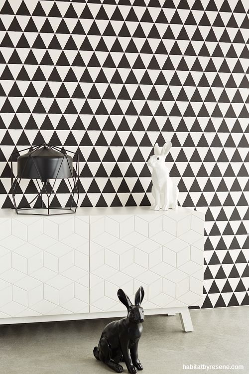 Triangles and dots are patterns that will live happily in your home forever, especially in black and white. A perfect print for children's rooms, which will last well into their tweens. It's also from the Black and Light wallpaper range (code 356011) and available through Resene ColorShops.