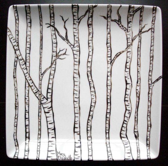 Hand painted birch trees platter- lovely.