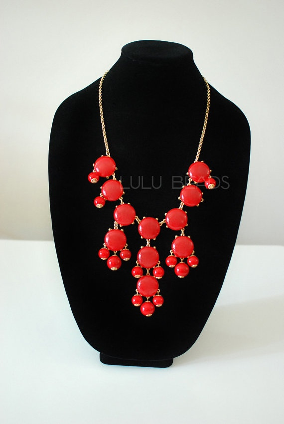 Red Bubble Necklace  Statement Necklace  JCrew by LuluBelleBead, $15.99