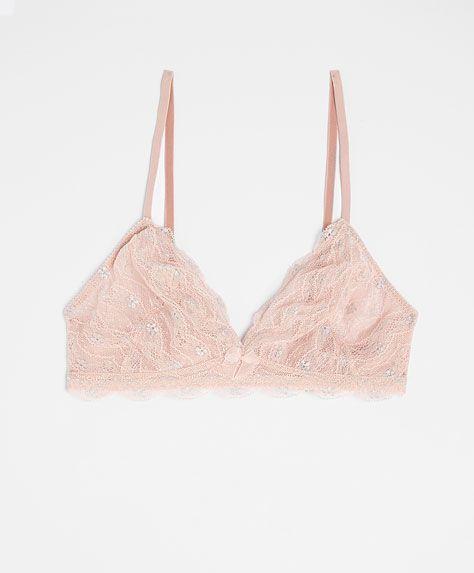 Shiny lace bra - OYSHO