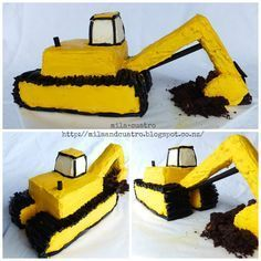 mila+cuatro: How to make a 3D digger cake [Excavator cake]