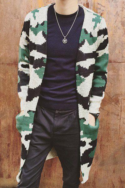 V-Neck Slimming Knitting Long Sleeve Camouflage Lengthen Cardigan For Men