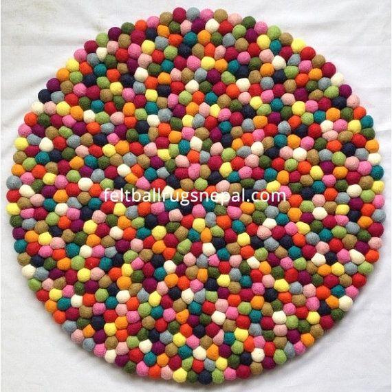 100cm multicolored felt ball rug by FeltBallRugsNepal on Etsy