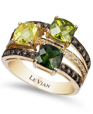 Le Vian Green Tourmaline, Peridot, Lemon Quartz and Chocolate and White Diamond Ring in 14k Gold -- ♥️ the stacked look in a single ring