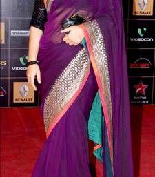 Buy Indian Replica Ethnic Vidya Purple Net Saree vidya-balan-saree online