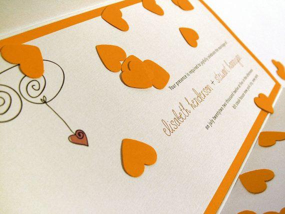 Demy's Funny Wedding Invitation Card // Orange Red by BudapestWP, $1.95