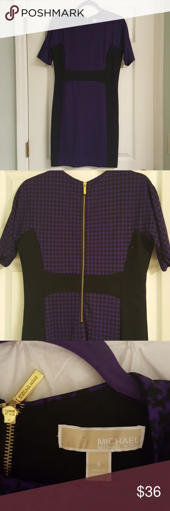 MICHAEL Michaels Kors dress Purple and black houndstooth dress by Michael Kors. Very slimming silhouette!! Fabric is heavy and dress wears well with tights and boots! MICHAEL Michael Kors Dresses Midi